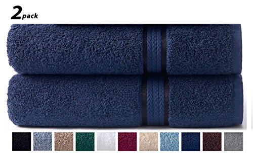 Cotton Craft – 2 Pack Ultra Soft Oversized Extra Large Bath Sheet 35×70 Night Sky – Weighs 33 Ounces – 100% Pure Ringspun Cotton – Luxurious Rayon trim – Ideal for everyday use, Easy care machine wash
