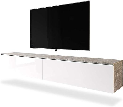 Selsey Mueble de TV, Aspecto de hormigón/Blanco Brillante, 180 cm: Amazon.es: Hogar