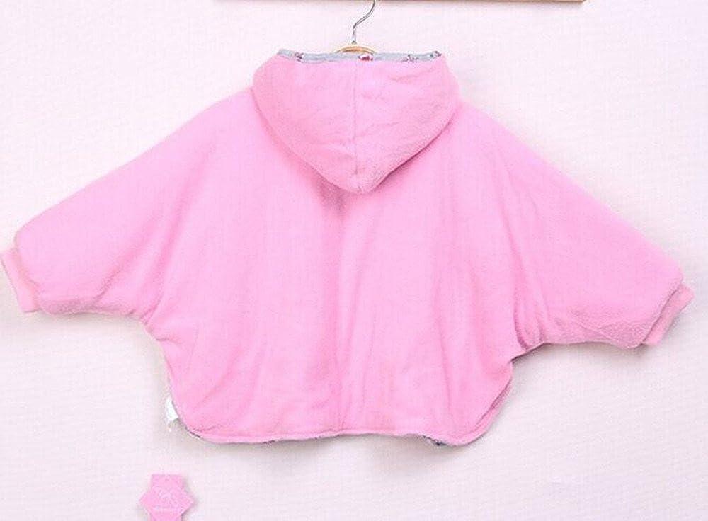 1-3 Red Lovage Infant Girls Poncho Coat Double Side Wear Fleece Hoodie Outwear