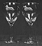 Muddy Creek Reflection Long Hair Dachshund Dog Laser Etched Large Red Wine Glass Set (2, 20RW)