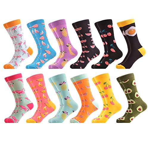 - WeciBor Men's Funny Fancy Fruit Pattern Casual Combed Cotton Socks 12 Packs