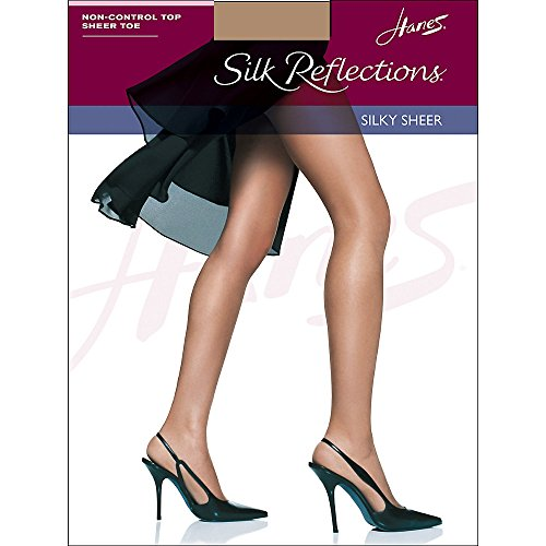 - Hanes Women's Non Control Top Sandalfoot Silk Reflections Panty Hose, Barely There, C/D