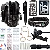 Emergency Survival Kit With First Aid - Gear, Cool Gadgets, Tools For Men, Women. Hiking, Camping, Fishing, Hunting Accessories. Link Molle Pouch To Bag, Backpack. Best Military Equipment, Supplies