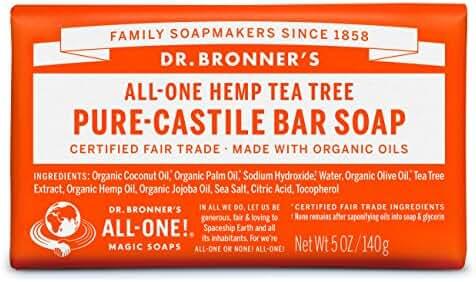 Dr. Bronner's Magic Soaps Pure-Castile Soap, All-One Hemp Tea Tree, 5-Ounce Bars (Pack of 6)