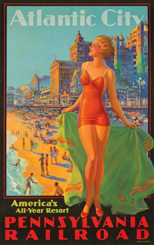(Pennsylvania Railroad - Atlantic City Vintage Poster (artist: Eggleston) USA (12x18 Art Print, Wall Decor Travel Poster))