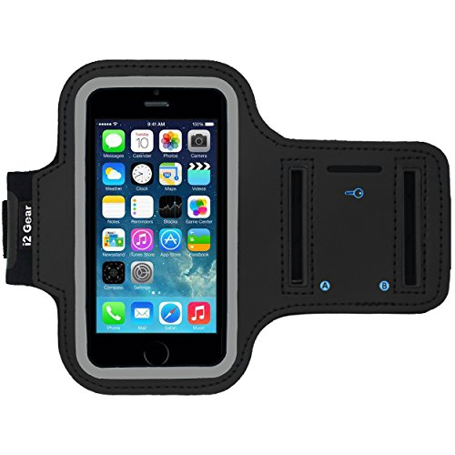 i2 Gear Running Exercise Armband for iPhone 5 5S 5C SE with Key Holder and Reflective Band (Black) (Best Iphone 5 Sports Armband)