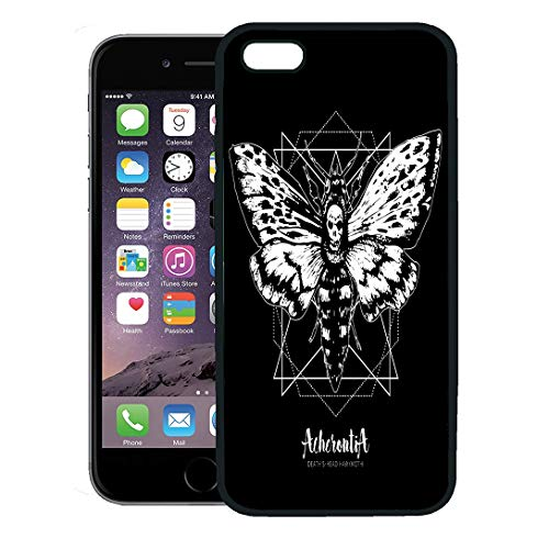 Semtomn Phone Case for iPhone 8 Plus case,Death Head Hawk Moth and Sacred Geometry Lines Ink in Engraved Tattoo Sketch Vintage Drawing Coloring iPhone 7 Plus case Cover,Black -