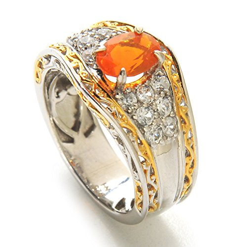 Michael Valitutti Palladium Silver Oval Oregon Fire Opal & White Zircon Band Ring