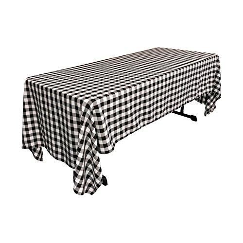 LA Linen Premium Poly Checkered Black and White Tablecloth 6