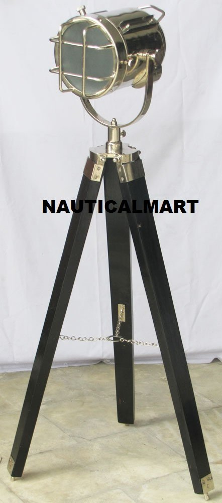Collectable Nautical Searchlight Black Wooden Tripod Stand Spot Light Studio Floor Lamp By NauticalMart
