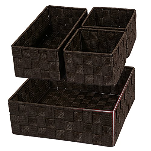 Posprica Woven Storage Box Drawer Closet Dresser Organizer Cube Basket Bins Containers Divider for Socks,Ties,Scarves,set of 4 (Brown)
