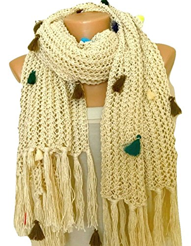 Cotton Mohair Yarn - Cotton Light Cream Hand Knit Shawl with Tassels
