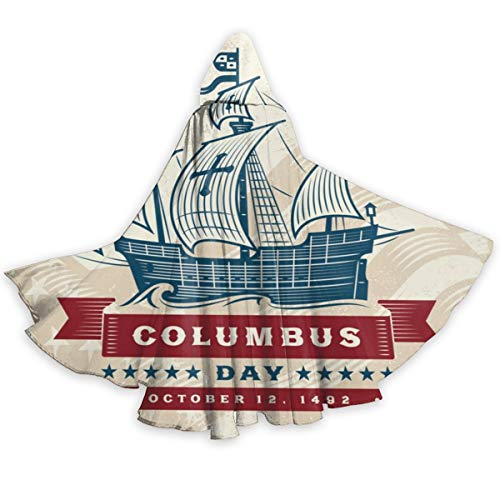 Vintage Columbus Day Hooded Cloak Durable Halloween Cape Costume Robe Cloak for Men Women