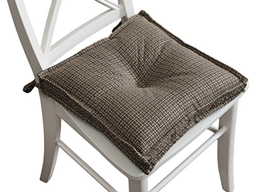 Arlee Carlin Set of Two (2) Chair Pad Seat Cushions (Brown) -Comfortable, Indoor, Dining Living Room, Kitchen, Office, Den, Washable, Fabric Ties, Bark, 2 Piece