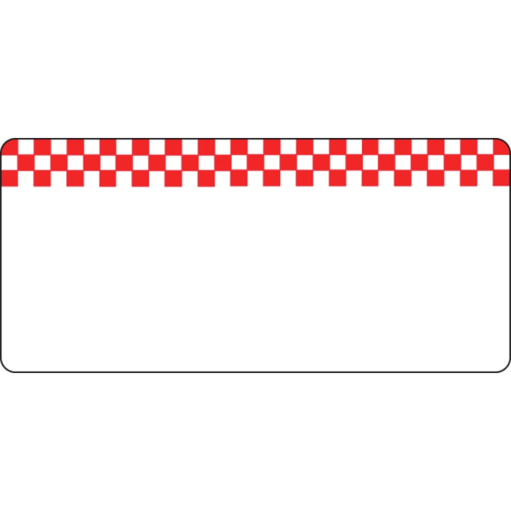 Deli Tag Write on Style with Red Checkerboard Design White Heat Resistant Merchandising Tag - 4 3/8 L x 2'' H, 12/Bag