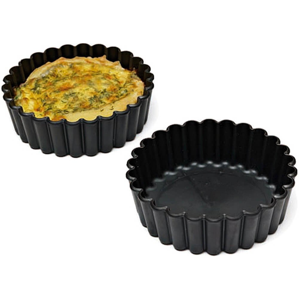 Matfer Bourgeat Exoglass Small Pie Pan, Fluted Sides, 4'', 12PK Black 345151
