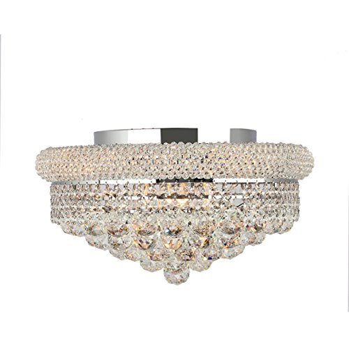 Worldwide Lighting W33011C16 Empire Collection 8 Light Chrome Finish & Clear Crystal Flush Mount Ceiling Light 16 inch D x 8 inch H Medium Transitional Empire Collection 8 Light Clear Crystal Flush Mount Ceiling Light, 16″ D x 8″ H Large