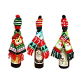 Yiphates 6 Pcs Santa Wine Bottle Cover,Christmas Winter Holiday Knit Sweaters