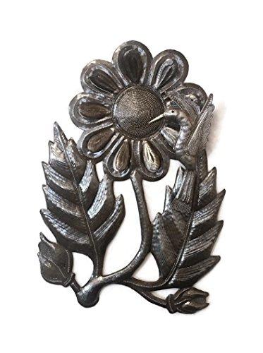 "Hummingbird with Flower, Garden Recycled Metal Art Haiti, 11""x 17 1/2"""