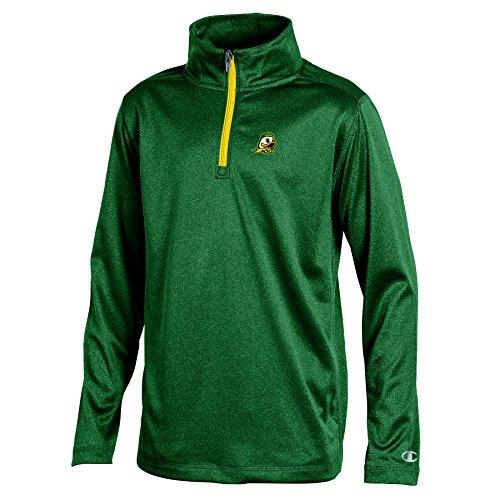 NCAA Oregon Ducks Youth Boys Lightweight Quarter Zip W Sweat Shirt, Medium, Green Heather