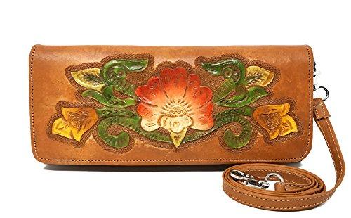 Mauzari Sayulita Havana Vintage Floral Artisan Leather Handmade Clutch Convertible Crossbody Designer Gift for Women (Maple)