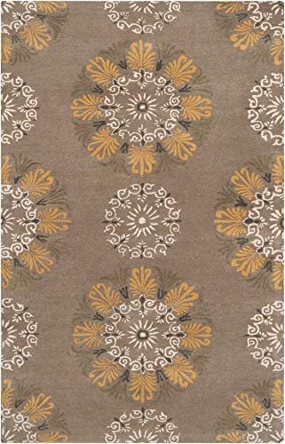 - Prescott Traditional Persian 2' x 3' Rectangle Floral and Paisley 100% NZ Wool Taupe/Cream/Tan/Dark Brown/Charcoal Area Rug