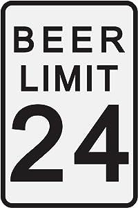 "Toothsome Studios Beer Limit 12"" x 8"" Tin Funny Traffic Sign Man Cave Decor Garage/Bar/Beer Sign Dorm Room Decor"