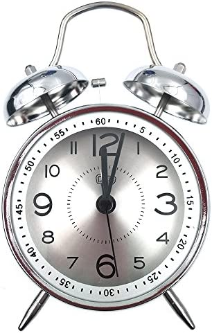 Nikauto Retro Alarm Clock, Vintage Room Clock Home Desk Table Lamp Clock with Ultra Mute Non Ticking Sweep Second Hand HD Glass Lens Battery Operated Silver-Silver