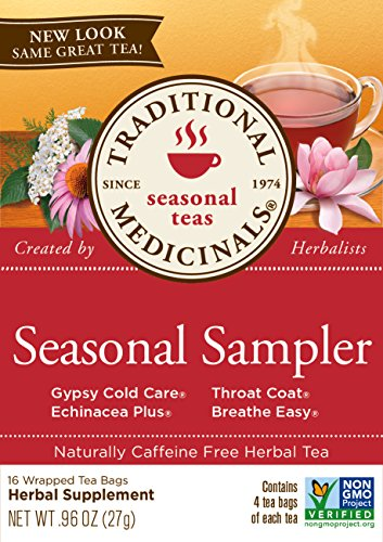 Traditional Medicinals Seasonal Herb Tea Sampler, 16 Tea Bags (Pack of 6)