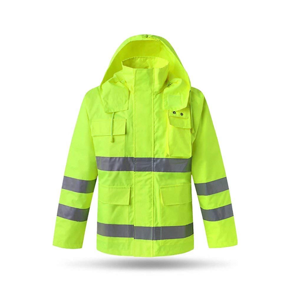 XIAKE SAFETY Class 3 Hi-Vis Reflective Rainwear Breathable Windproof Waterproof Antifouling, ANSI/ISEA Compliant,Yellow(XLarge)