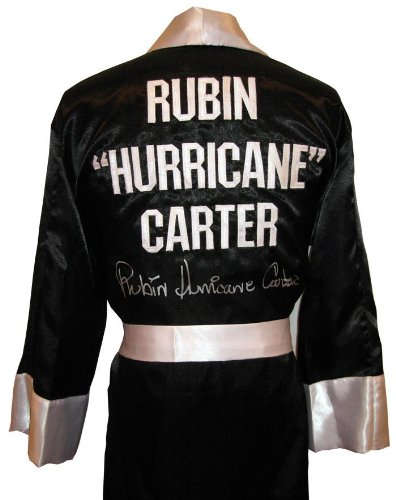 "Rubin""Hurricane"" Carter Signed Black Robe - Autographed Boxing Robes and Trunks"