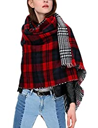 Women's Scarf Plaid Striped Scarves Shawls Blanket Poncho with Fringe Trims (Series 1 red)