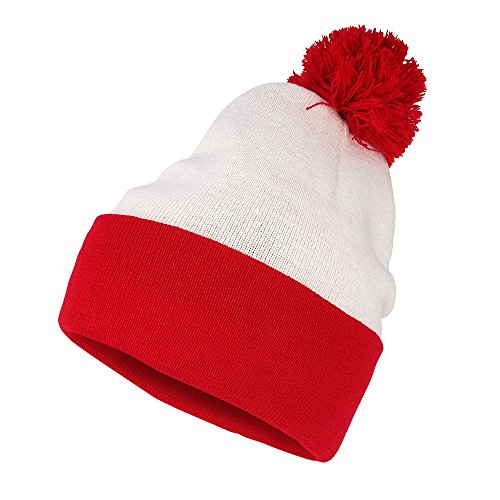 Waldo Costume Red White Pom Pom Cuff Knit Beanie Hat (One Size, Red White)