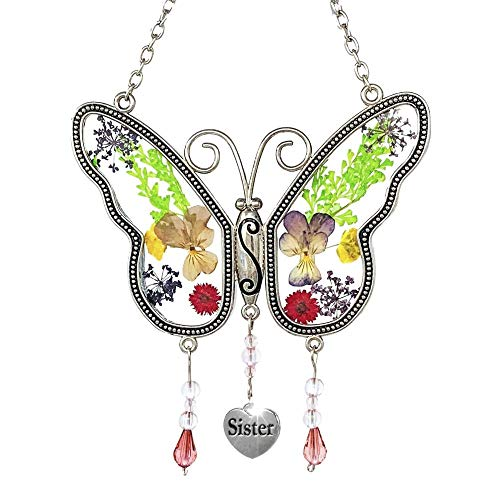 Banaberry Designs Butterfly Sun Catcher - Dried Flowers and Sister Charm - 4 1/4