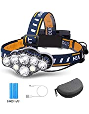 Brightest Headlamp,Super Bright 18000 Lumen 8 LED Work Headlight With Red Warning Lihgt 8 Modes Rechargeable Waterproof Flashlight , HeadLights for Camping Cycling Hunting Fishing Climbing Running Outdoor