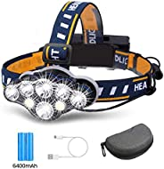 Brightest Headlamp,Super Bright 18000 Lumen 8 LED Work Headlight With Red Warning Lihgt 8 Modes Rechargeable W