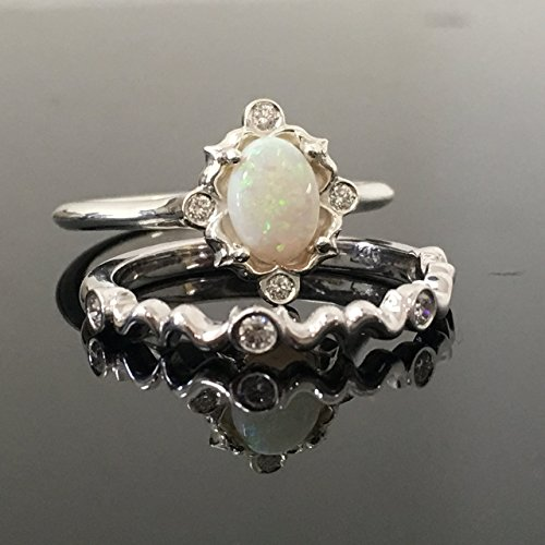 0.925 Sterling Silver Opal Engagement Ring Set - Silver Vintage Inspired Opal and Diamond Bridal Set - Australian Opal Ring and Wedding Band Set Set