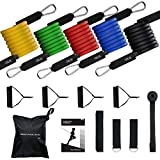 Mpow 15 PCS Resistance Bands Set with 4 Wide Handles, G-4 Resistance Bands with Door Attachment, Ankle Straps, Sturdy Hook, 150 LBS Anti-snap Exercise Bands for Men, Women, Keeping Healthy at Home Gym