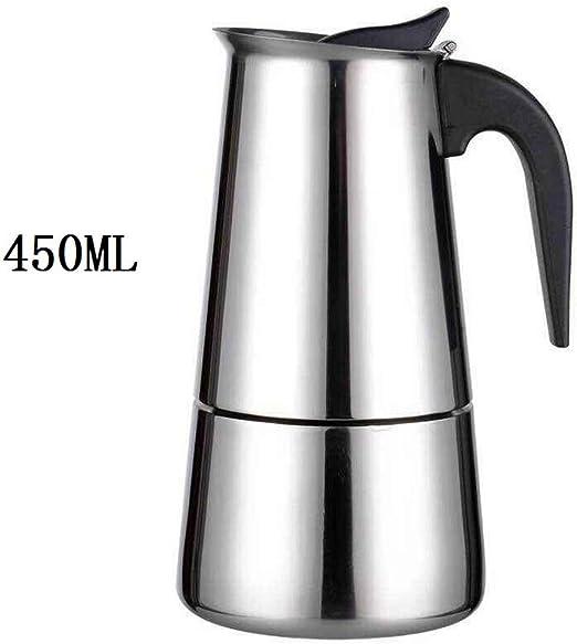 CHANGLI Cafetera, Cafetera de Acero Inoxidable para café exprés Adecuada para la cocción por inducción Máquina de café Moka clásica Plata Uso en el hogar y en la Oficina 9 Tazas(450ml): Amazon.es: