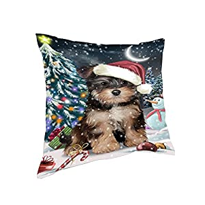 Doggie of the Day Have a Holly Jolly Yorkipoo Dog Christmas Pillow PIL63132 (14x14) 6