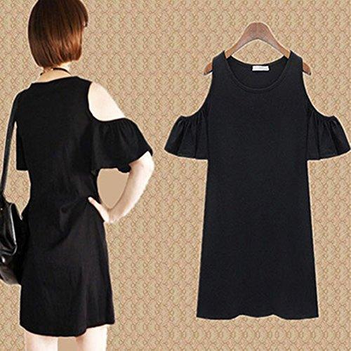 Urparcel Girls Off Shoulder Long Blouse Ruffled T-shirt Black L
