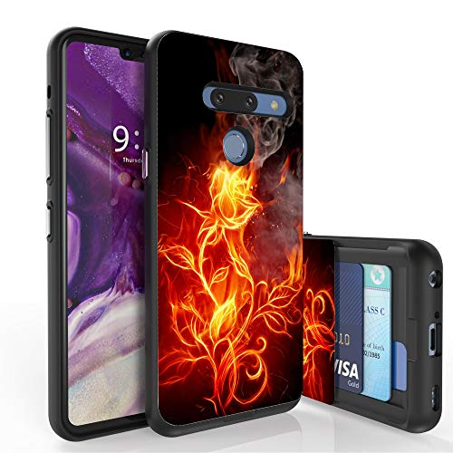 (PimpCase Slim Wallet Case + Dual Layer Card Holder Designed for LG G8 ThinQ (Released 2019) Flaming Flowers)