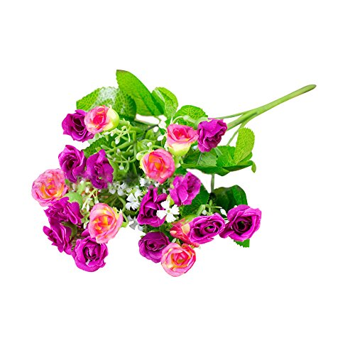 Connoworld--1 Bouquet Artificial Fake Rose Flower Plant Home Office Party Decor Photo Props - Sunset Red