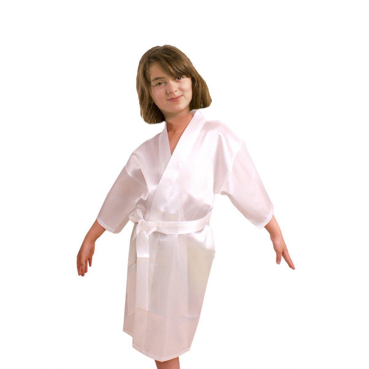 Kids Satin Rayon Kimono Robe Bathrobe Nightgown For Spa Party Wedding Birthday (8, White)