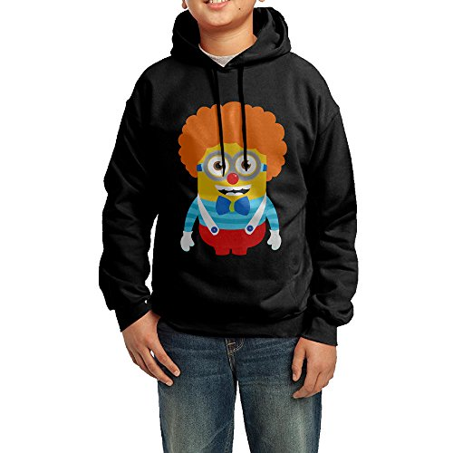 GGDD Boys & Girls Clown Minions Leisure Cool Hoodie Sweatshirt Leisure Style M Black (Clown Makeup Styles)