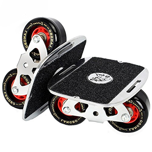 Smartuan Roller Road Drift Skate Plates Portable Anti-slip Board Split Skateboard All-in-one Aluminum Alloy with PU Wheels (Silver) (Belt Skate Tool)