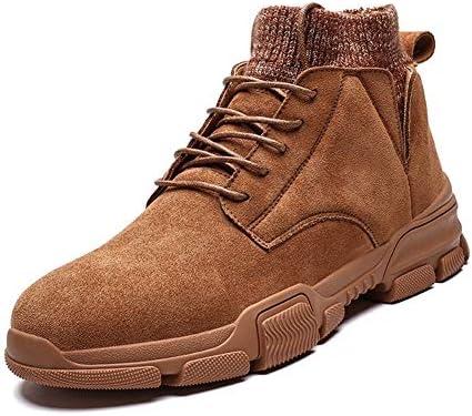 男性のスポーツシューズラウンドトウレースアップスエード縫製ソックス襟暖かい快適のための戦闘ブーツは、滑り止め通気ショート管ライニング YueB HAL (Color : 褐色, サイズ : 25.5 CM)