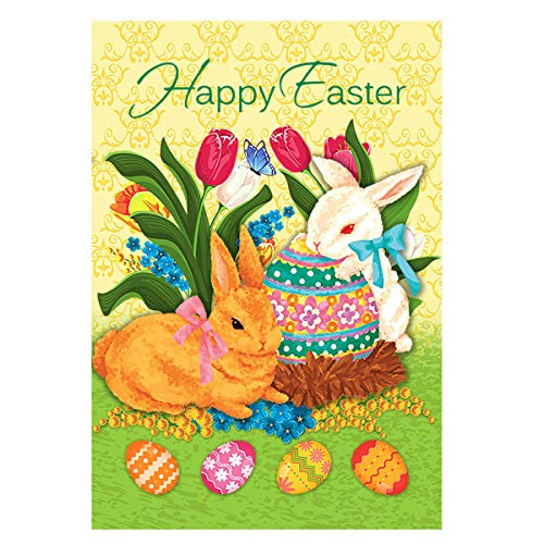 - Morigins Happy Easter Bunny Tulip Double Sided Cute Rabbit Spring Easter Eggs Basket House Flag 28