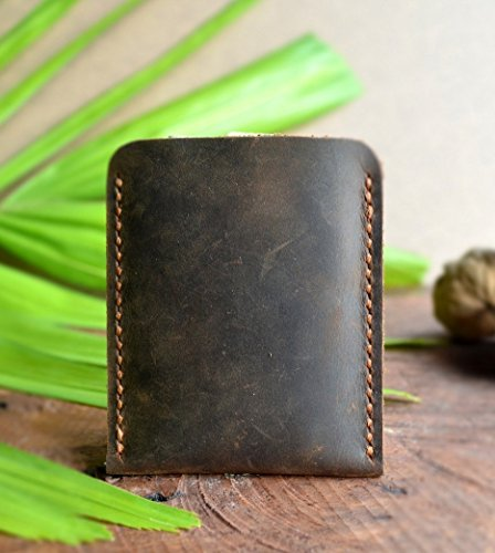Handmade Front Pocket Leather Wallet, Leather Business Card Case
