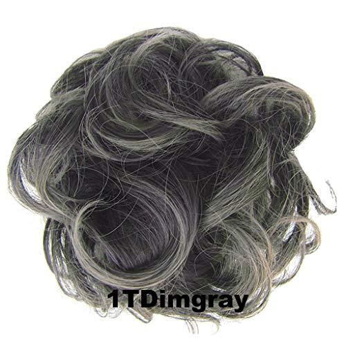 PrettyWit Hair Bun Updo Extensions Chignons Hair Piece Wig Scrunchy Scrunchie Hairpiece Ribbon Ponytail Bridal Drawstring-Black to Dim Gray 1TDimgray ()